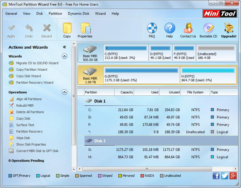 minitool partition wizard disk management functions