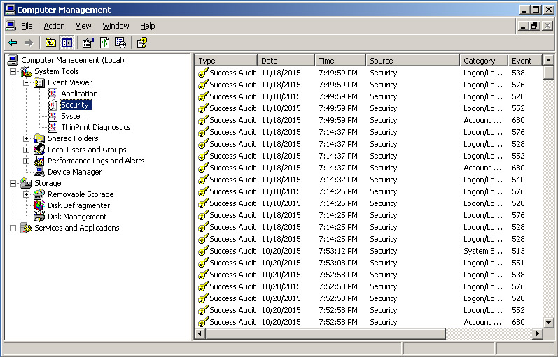 check logs in server 2003