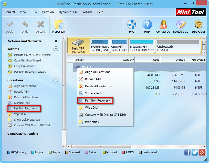 how to delete recovery partition