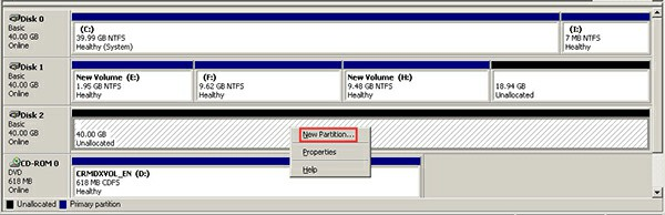 create partition dm