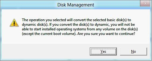 the disk will be converted to dynamic