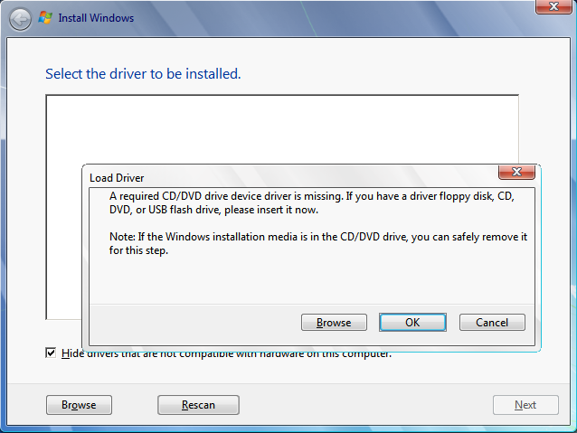 load a CDDVD driver for Windows setup to proceed