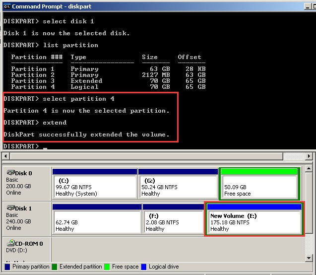 extend logical partition with unallocated dm 1