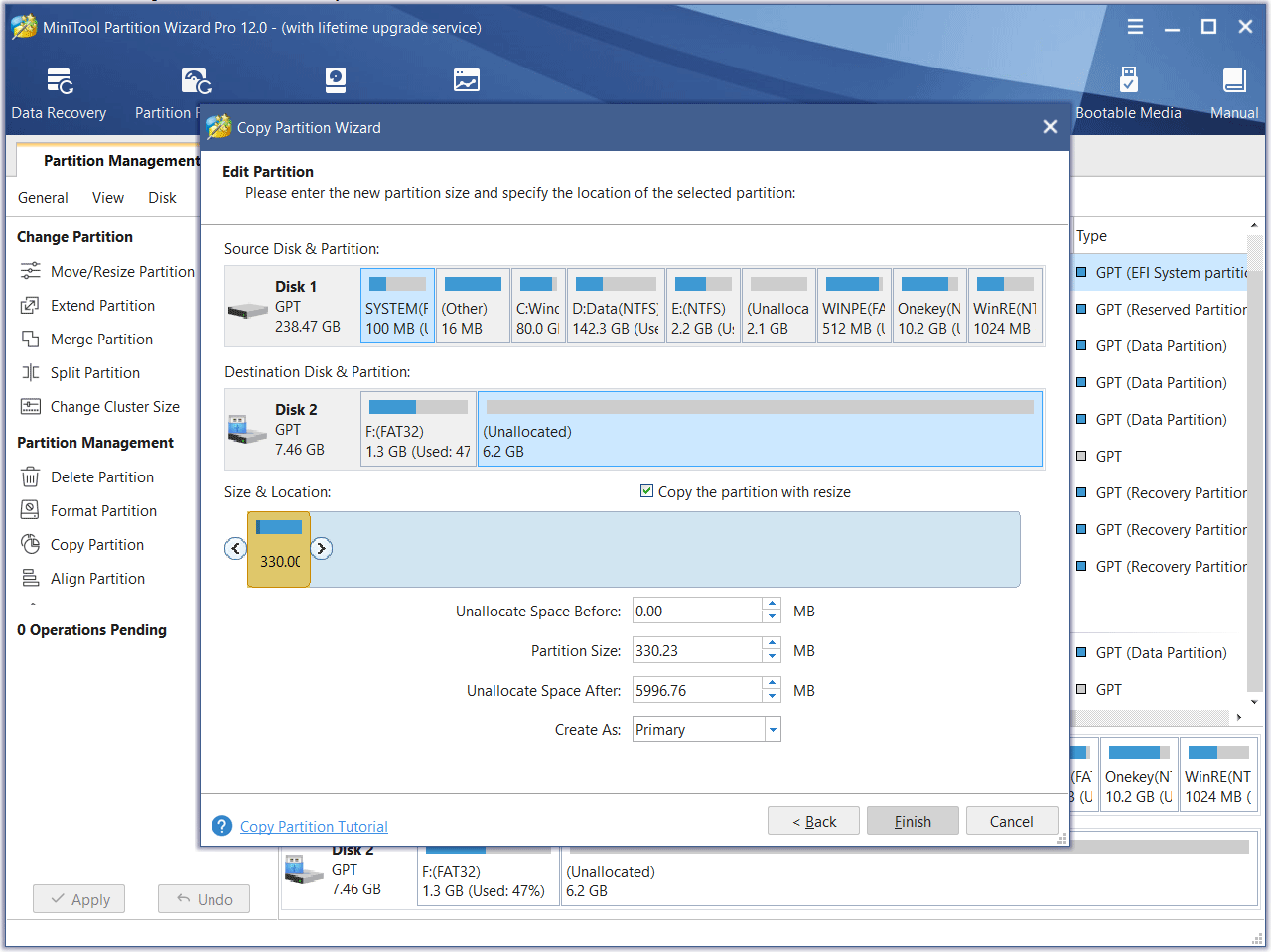 edit the new partition size