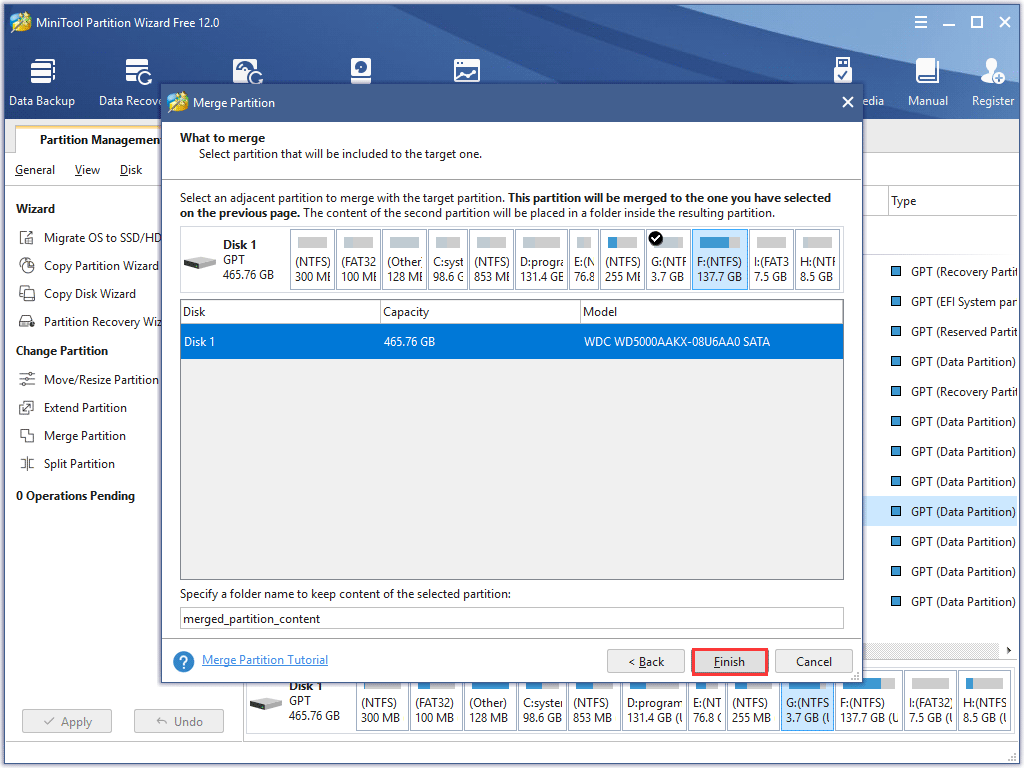 select an adjacent partition to be merged
