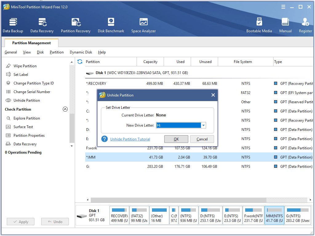 unhide partition in partition wizard assign new drive letter