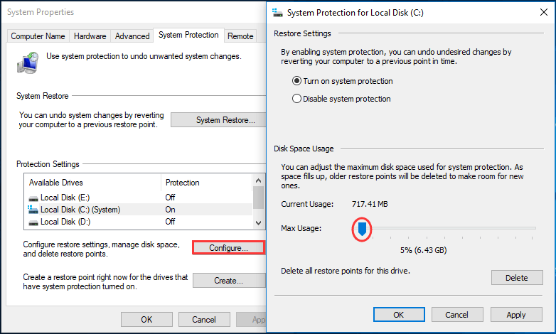 adjust disk space usage for system protection