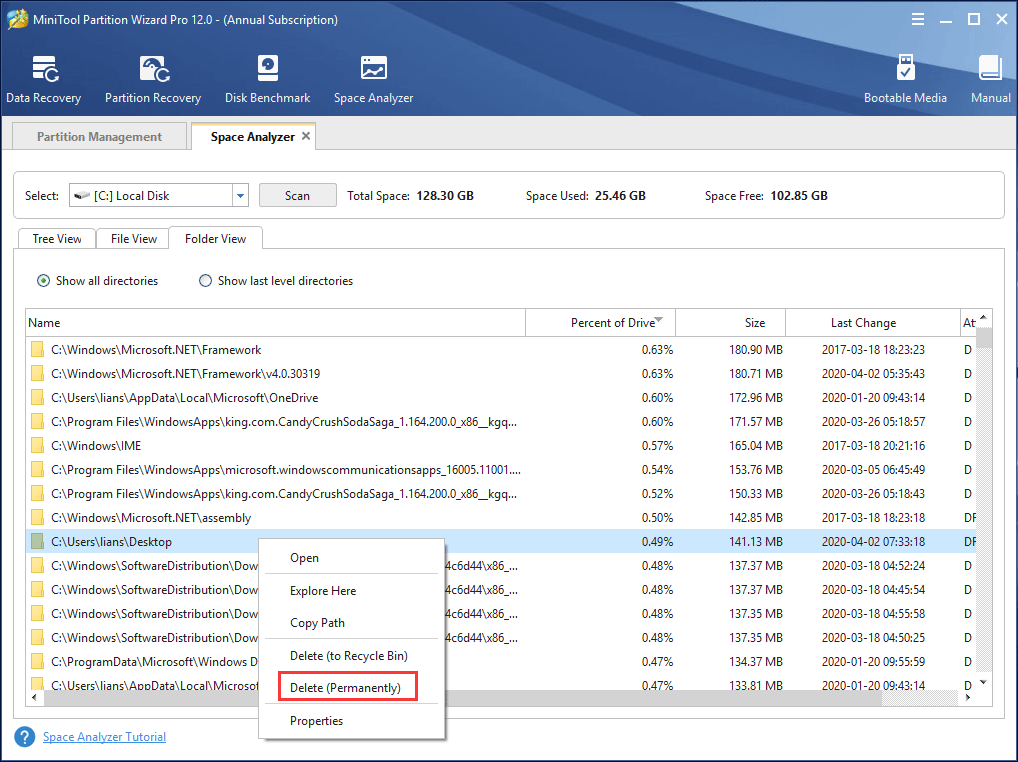 delete unnecessary files with Disk Analyzer
