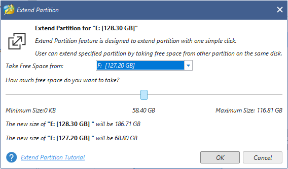 take free space from other partition on the same disk