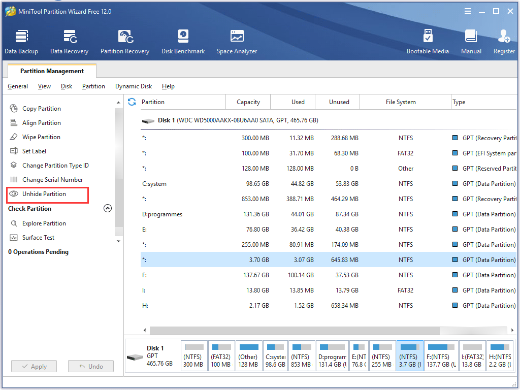 unhide partition
