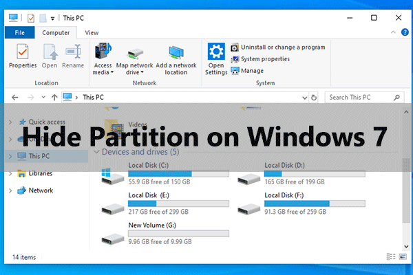 hide disk partition Windows 7