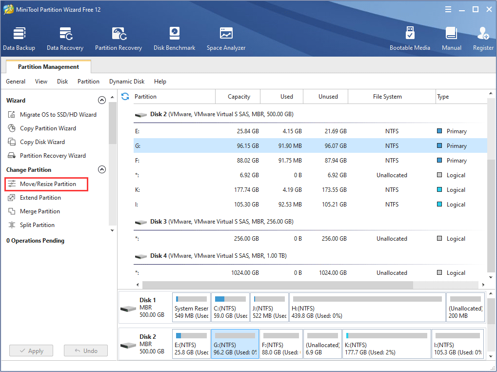 choose Move/Resize Partition to start