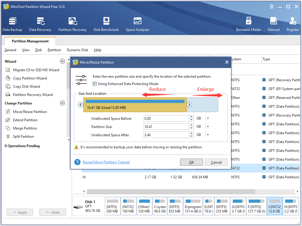the interface to change the size of the partition