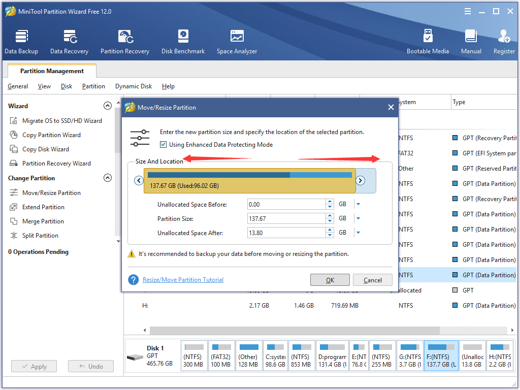 increase the size of target partition