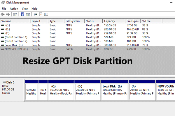 resize GPT disk partition