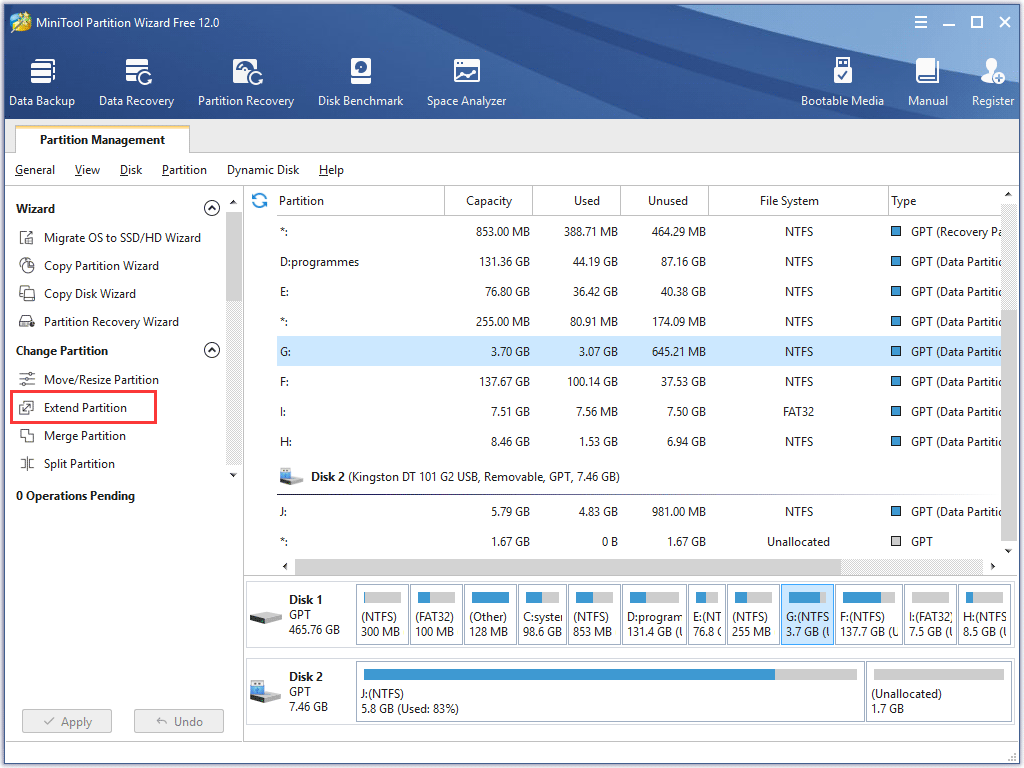 click Extend Partition to start