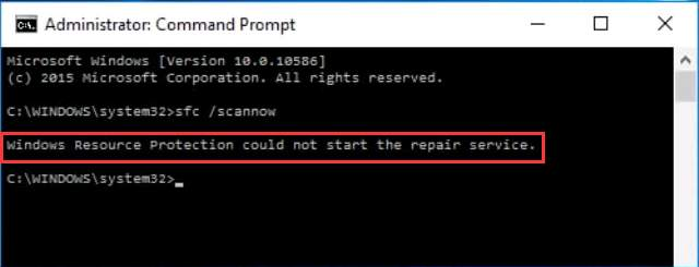 Windows resource protection could not start the repair service