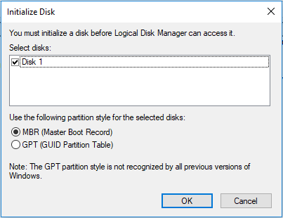 initialize disk in disk management