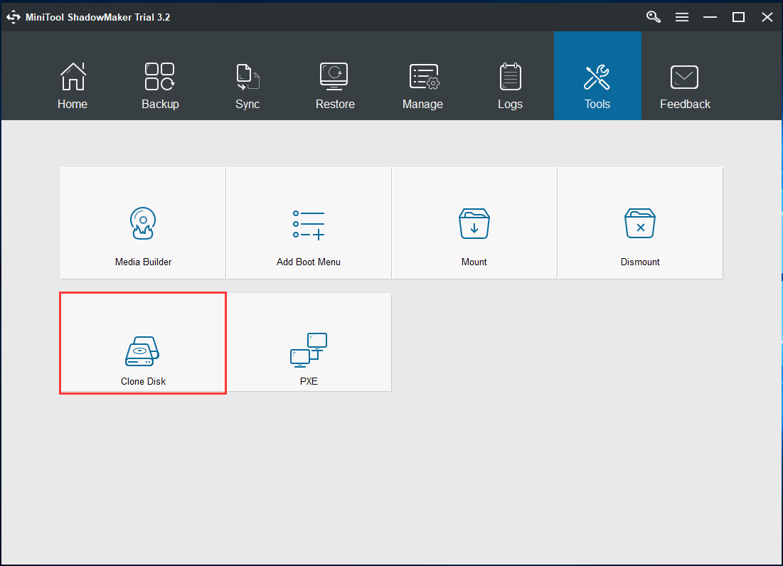click Clone Disk feature in tools page