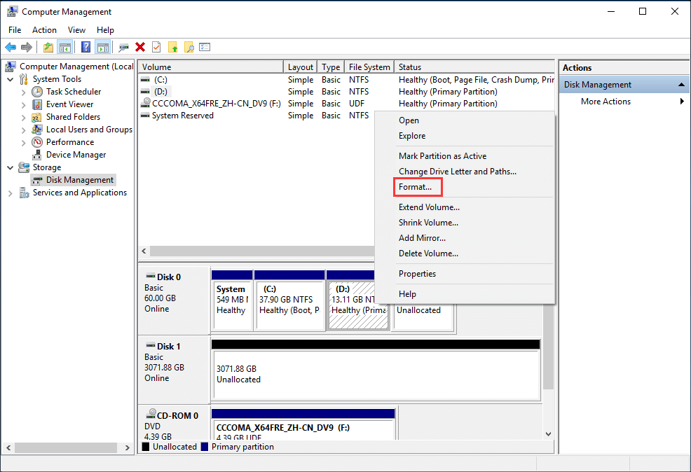 select a NTFS partition and choose Format