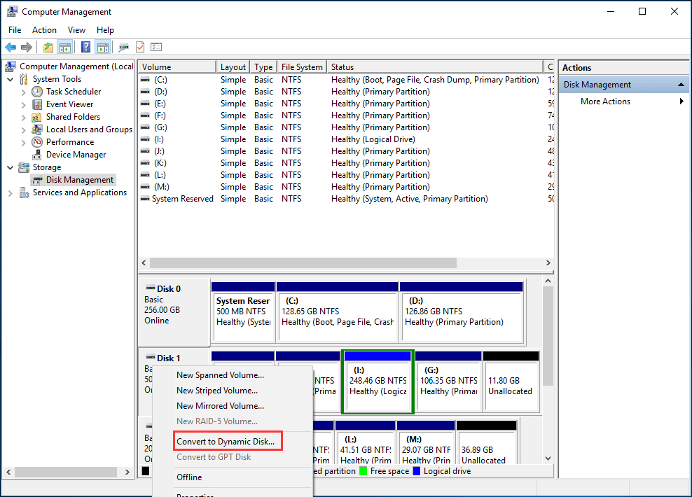 convert to dynamic disk in DM