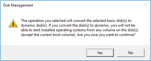 the operation will convert the selected disk(s) to dynamic disk(s)