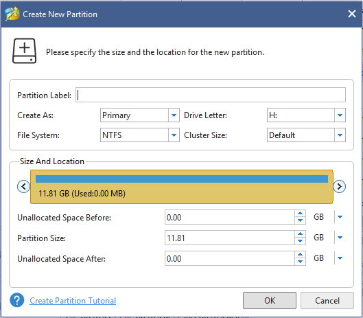 make settings for the created partiton