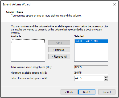 specify volume size in Disk Management