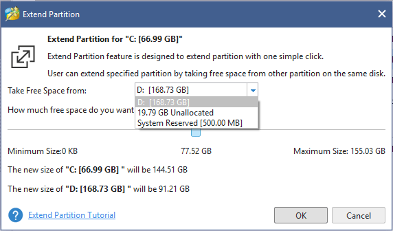 take free space from other partition