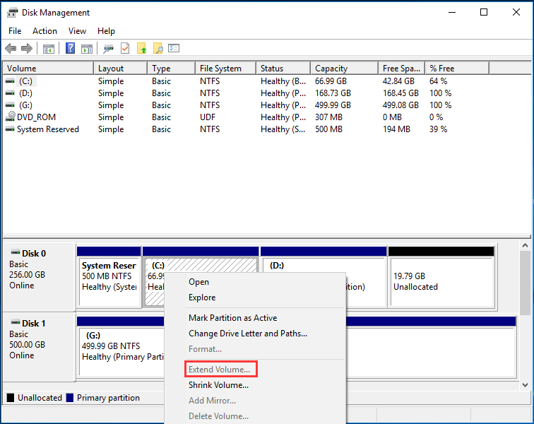 Windows 10 extend volume greyed out