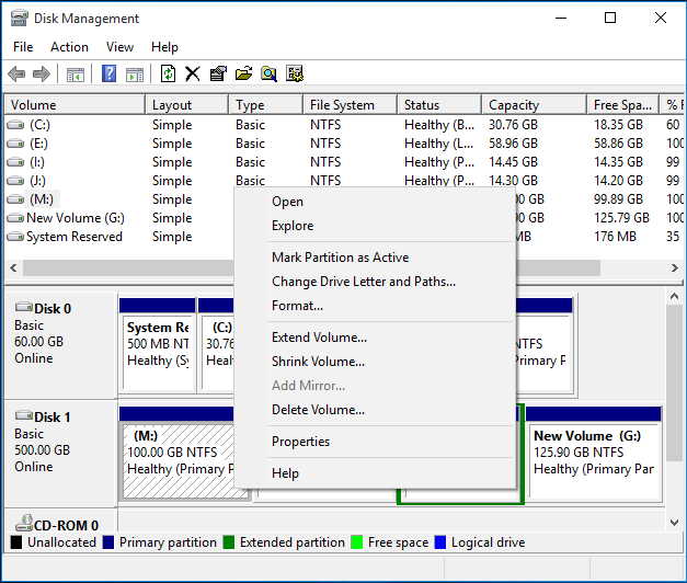 shrink volume in Disk Management