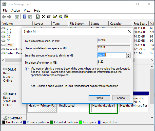 shrink volume with a specific size in Disk Management