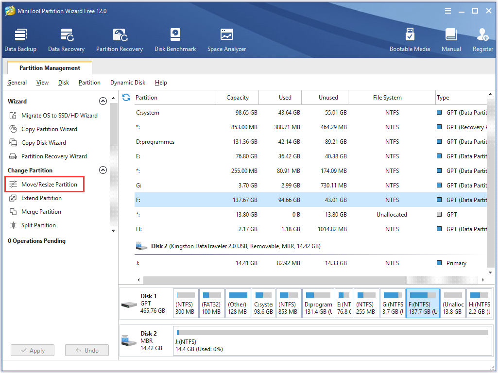choose Move/Resize Partition