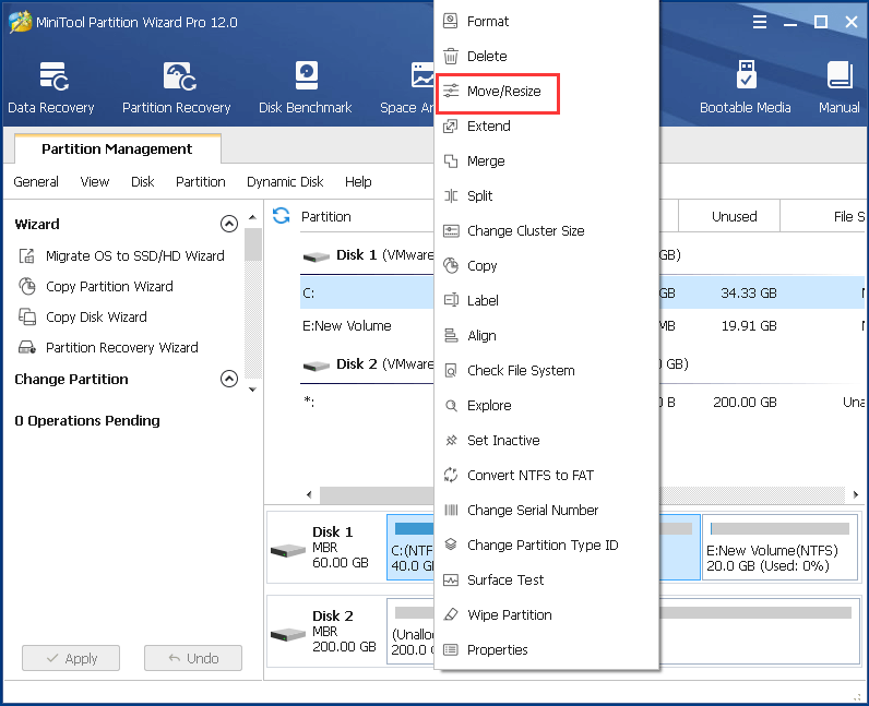 select the system partition and choose move and resize to continue