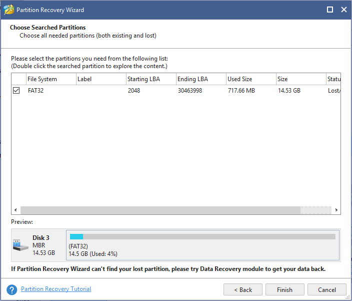 choose searched partitions on SD card to restore