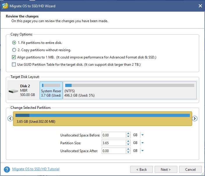 choose a copy option for the system migration