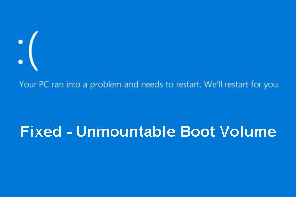 unmountable boot volume