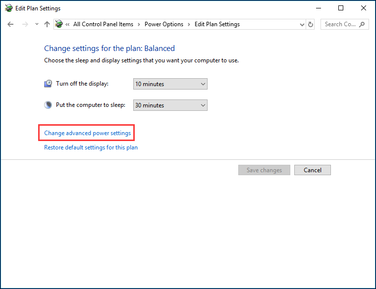 click Change advanced power settings