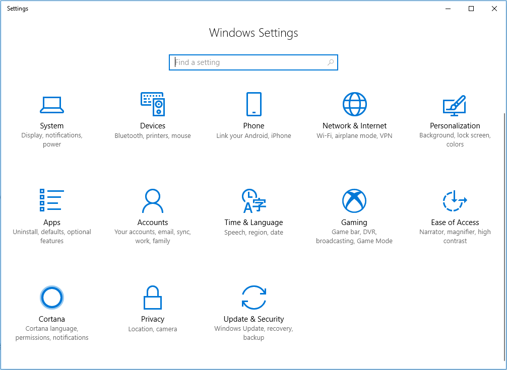 items in Windows Settings