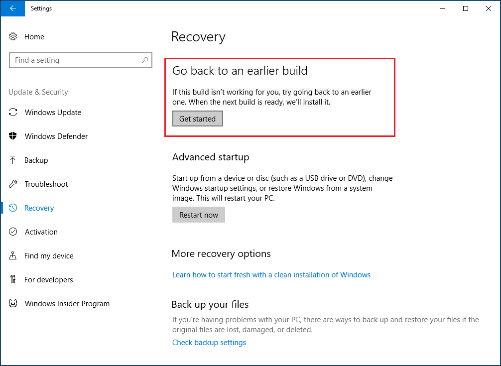 go back to an earlier build Windows 10