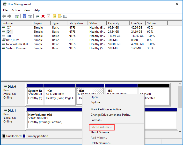 extend partition Windows 7 greyed out