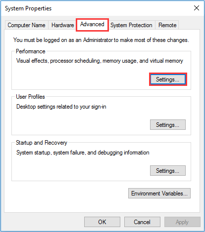 change the Settings of System performance