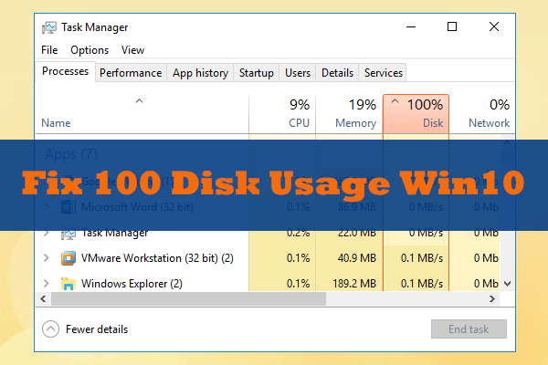 How to Fix: 100% Disk Usage on Windows 10 Task Manager