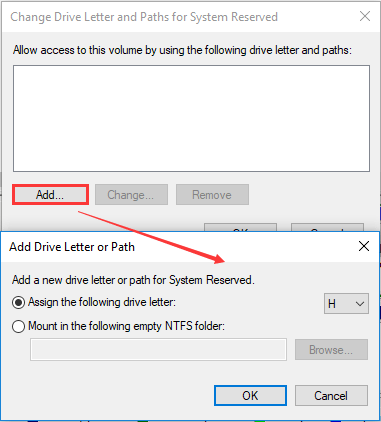 change drive letter for system reserved partition