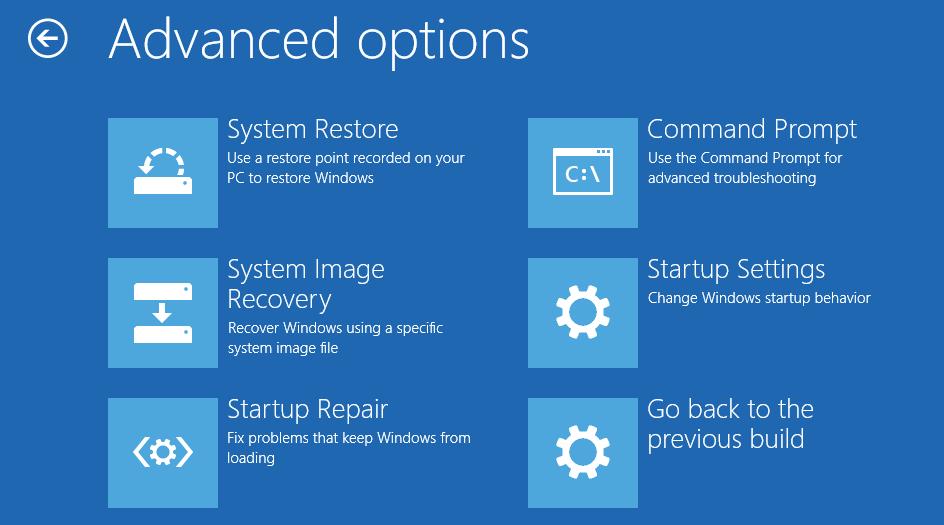 Interfejs opcji zaawansowanych systemu Windows 10