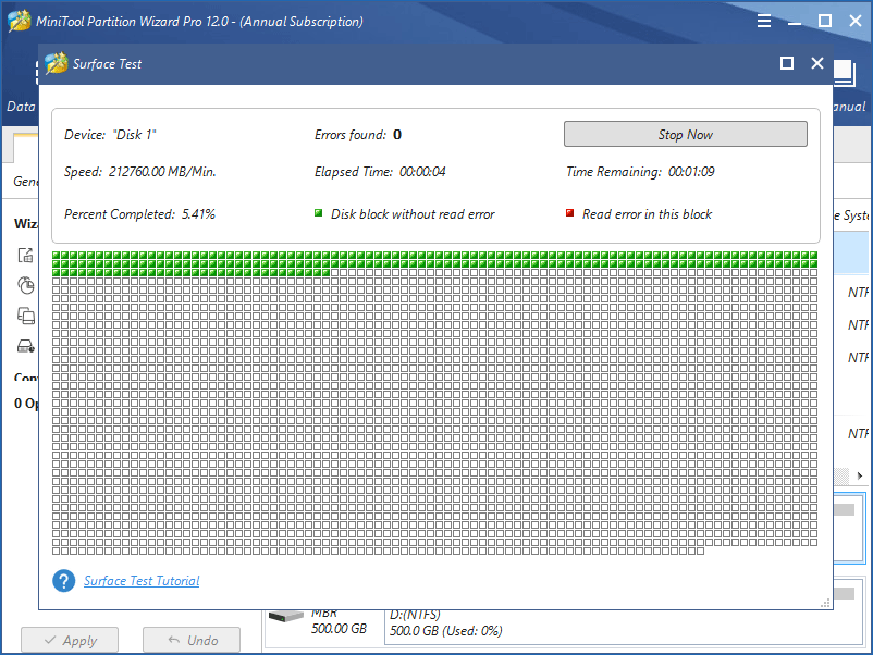 surface test in MiniTool Partition Wizard