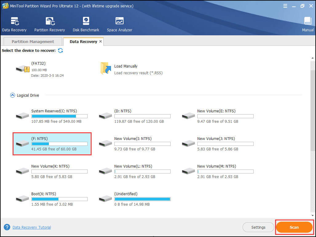 select the system partition to scan