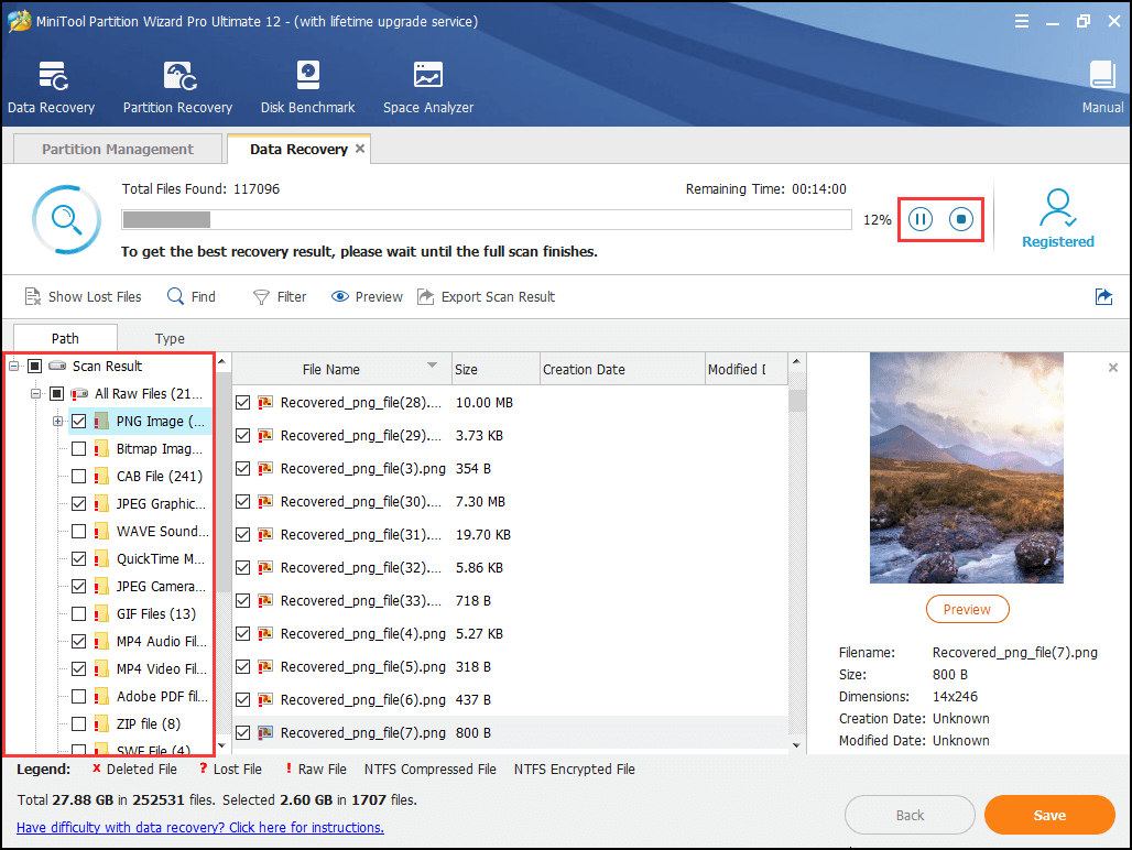 select files to be recovered and save them to a safe location