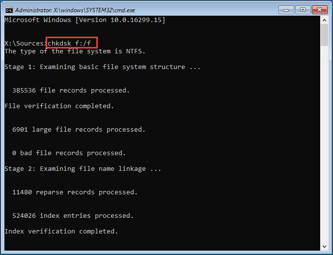 run chkdsk in Windows installation media