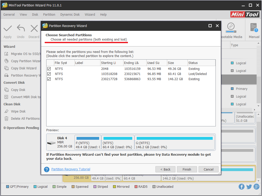 MiniTool Partition Wizard helps recover lost partition
